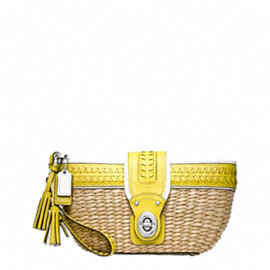 STRAW EDITORIAL CLUTCH WITH TURNLOCK