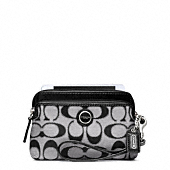 POPPY SIGNATURE SATEEN METALLIC DOUBLE ZIP WRISTLET