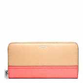 SAFFIANO COLORBLOCK LEATHER ACCORDION ZIP