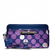 POPPY WATERCOLOR DOT DOUBLE ZIP WALLET