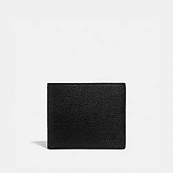 COIN WALLET WITH SIGNATURE CANVAS INTERIOR - BLACK/KHAKI - COACH 5013