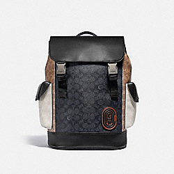 RIVINGTON BACKPACK IN COLORBLOCK SIGNATURE CANVAS - JI/CHARCOAL MULTI - COACH 5091
