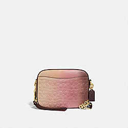 CAMERA BAG IN OMBRE SIGNATURE LEATHER - PINK MULTI/GOLD - COACH 51651