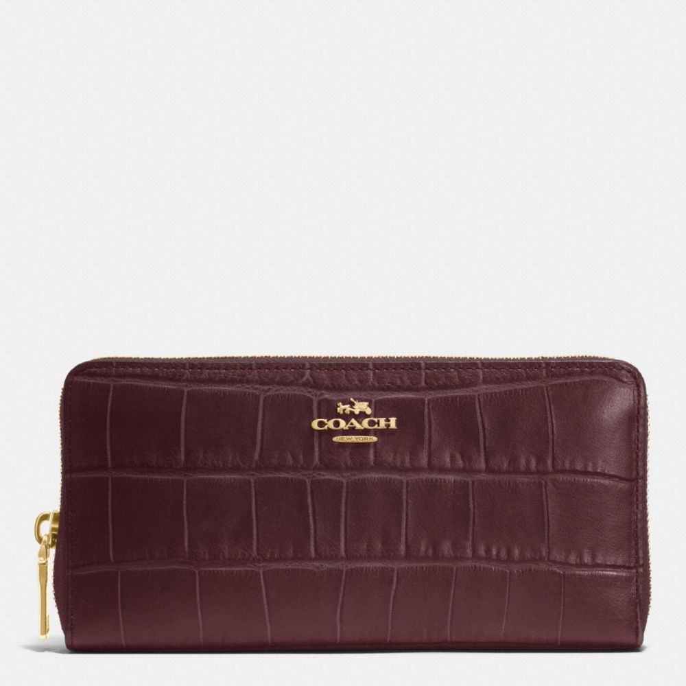 Accordion Zip Wallet in Croc Embossed Leather