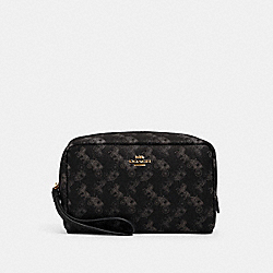 BOXY COSMETIC CASE WITH HORSE AND CARRIAGE PRINT - IM/BLACK GREY MULTI - COACH 528