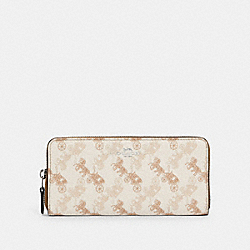 SLIM ACCORDION ZIP WALLET WITH HORSE AND CARRIAGE PRINT - SV/CREAM BEIGE MULTI - COACH 531