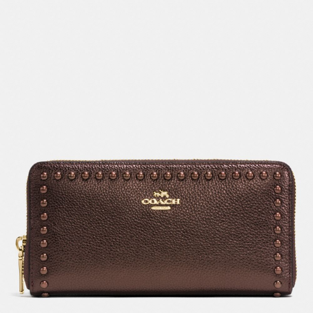 Coach Accordion Zip Wallet in Lacquer Rivets Pebble Leather