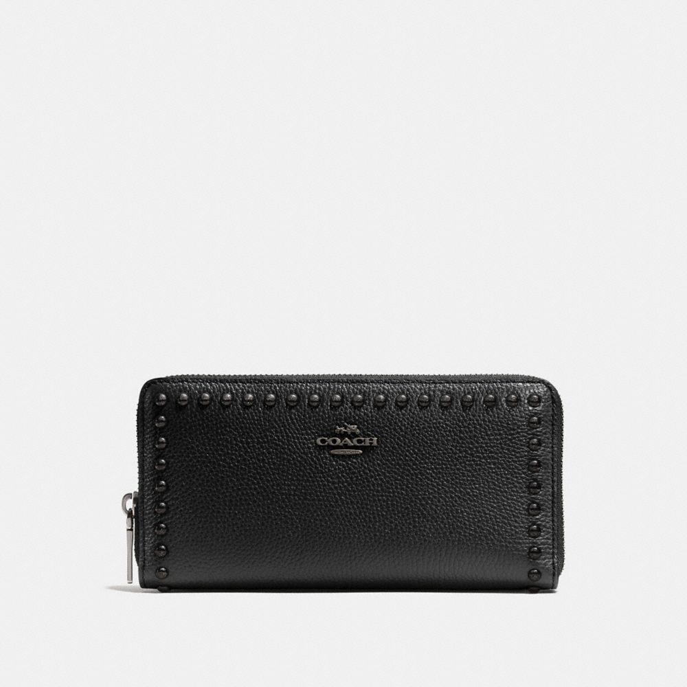 ACCORDION ZIP WALLET WITH LACQUER RIVETS