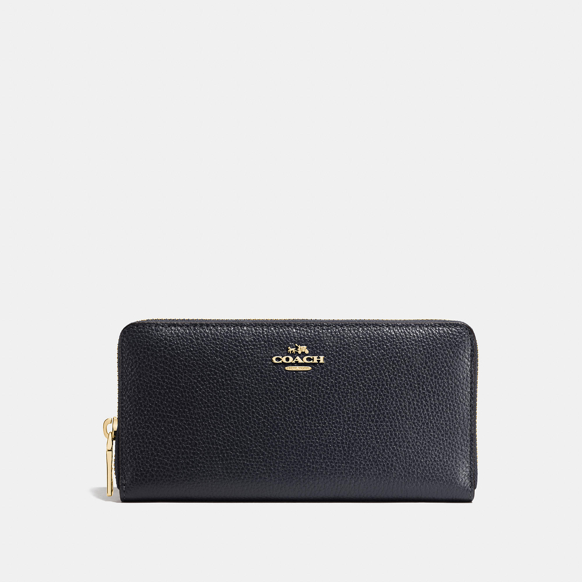 Coach Accordion Zip Wallet In Pebble Leather
