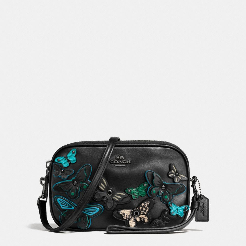 BUTTERFLY APPLIQUE CROSSBODY CLUTCH IN PEBBLE LEATHER