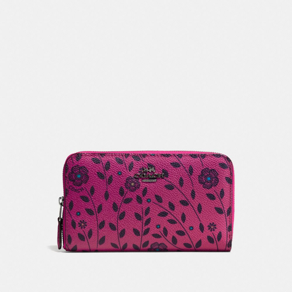 Medium Zip Around Wallet in Willow Floral Coated Canvas