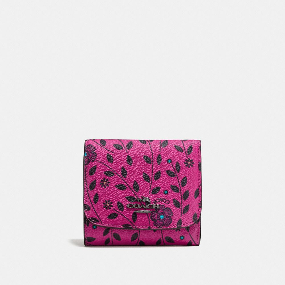 Small Wallet in Willow Floral Print Coated Canvas