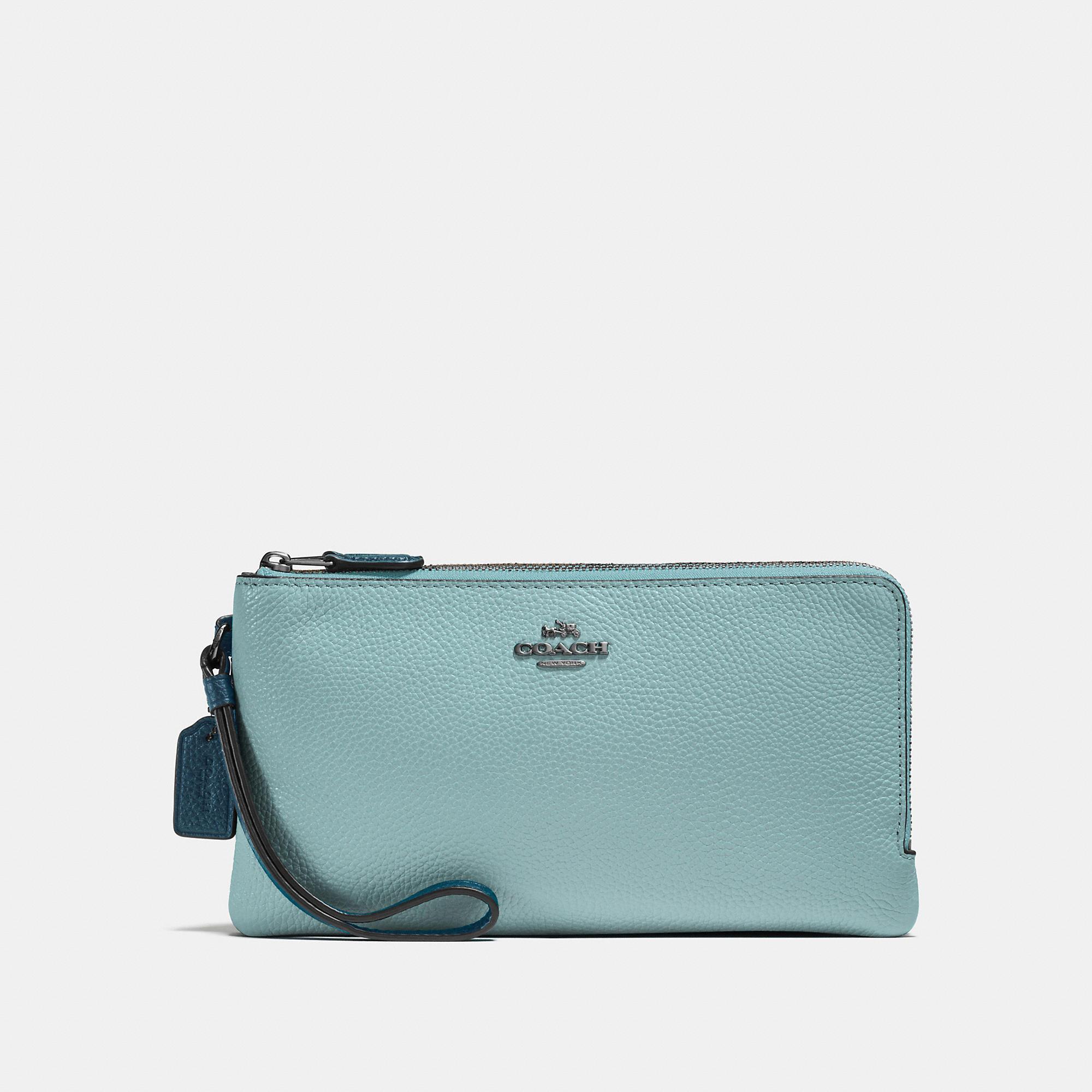 Coach Double Zip Wallet In Colorblock