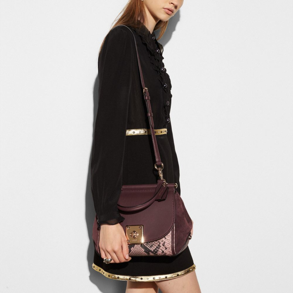 DRIFTER TOP HANDLE SATCHEL IN COLORBLOCK EXOTIC EMBOSSED LEATHER - Alternate View