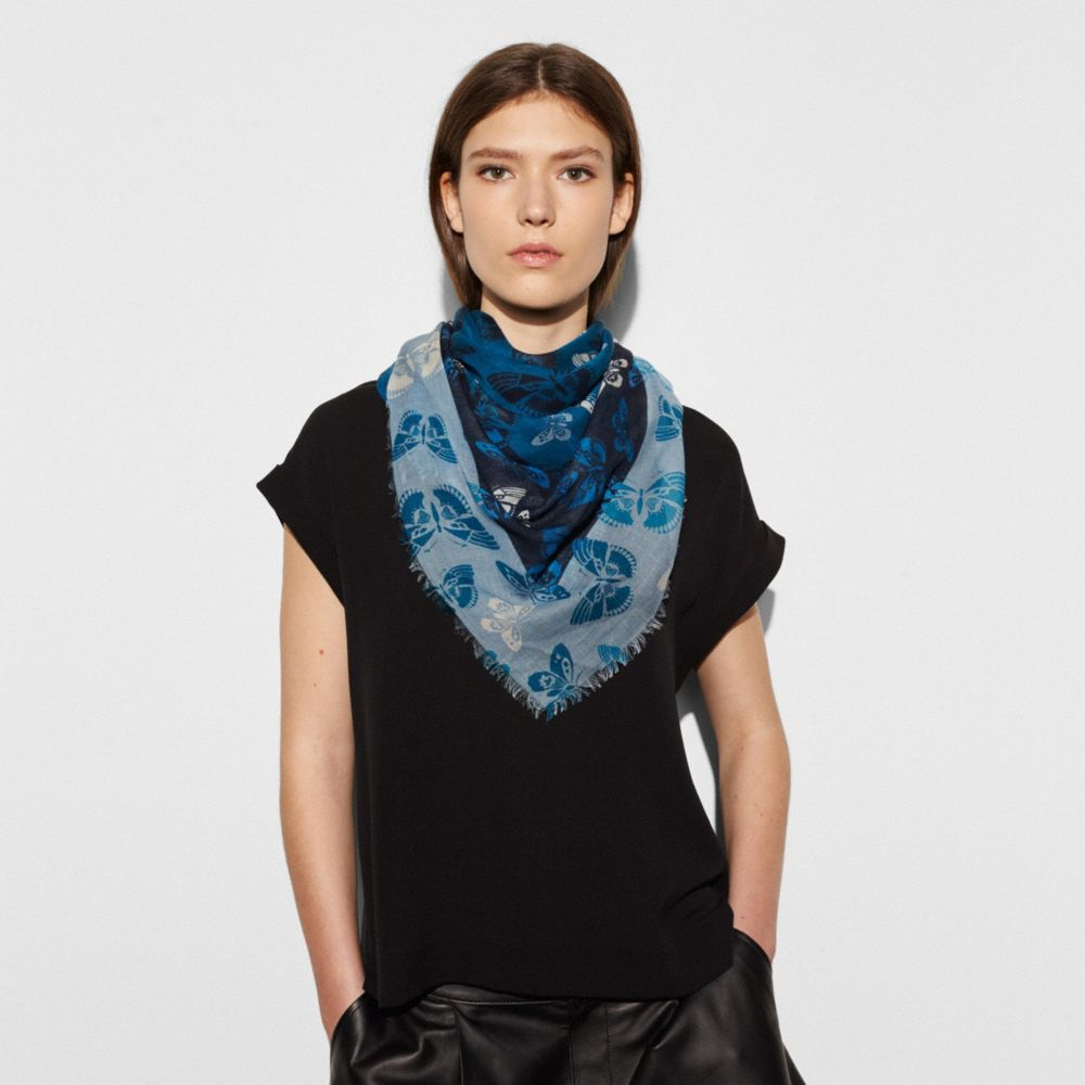 BUTTERFLY WOVEN OVERSIZED SQUARE SCARF - Alternate View
