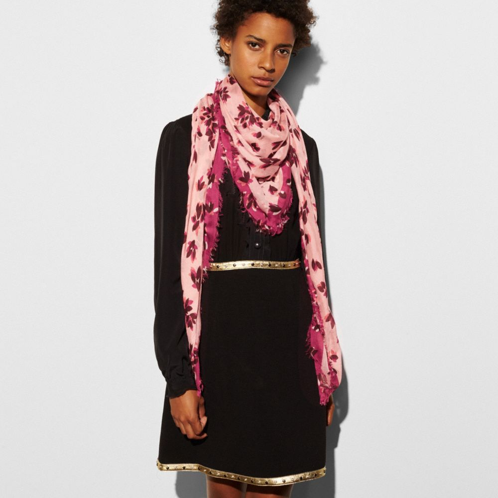 Coach Scattered Leaves Oversized Square Scarf Alternate View 1