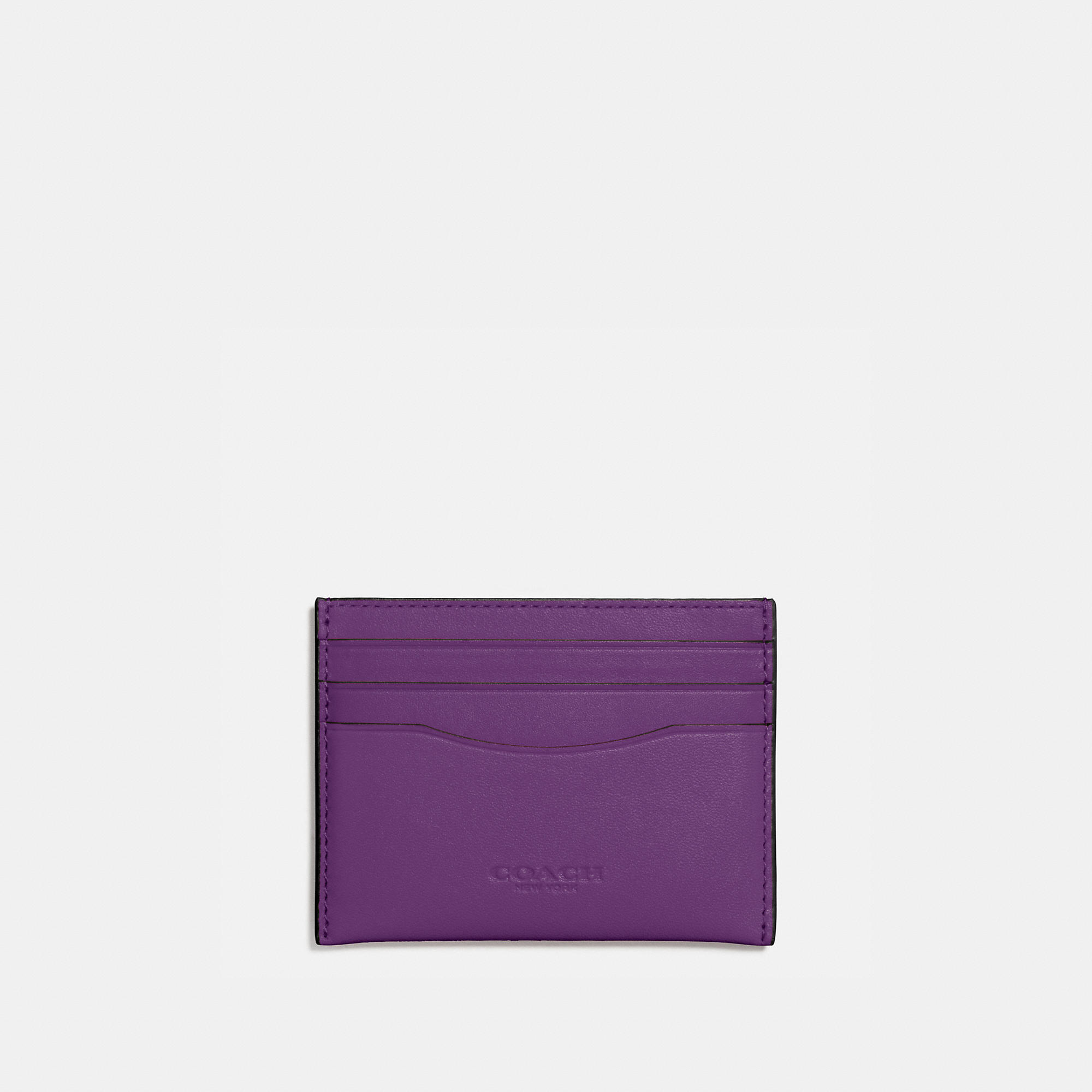 Coach Flat Card Case In Glovetanned Leather