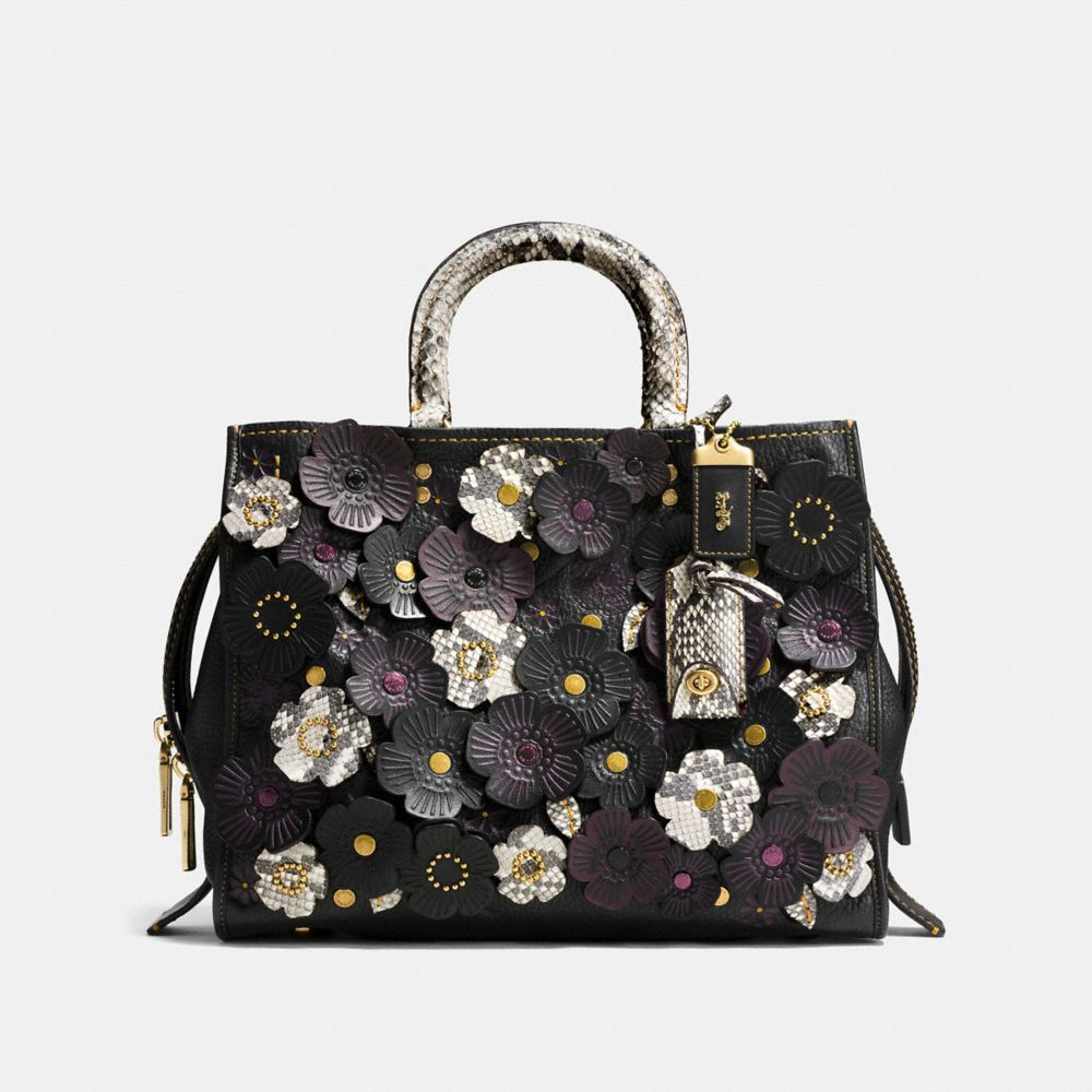 TEA ROSE APPLIQUE ROGUE BAG IN EXOTIC LEATHER - Alternate View