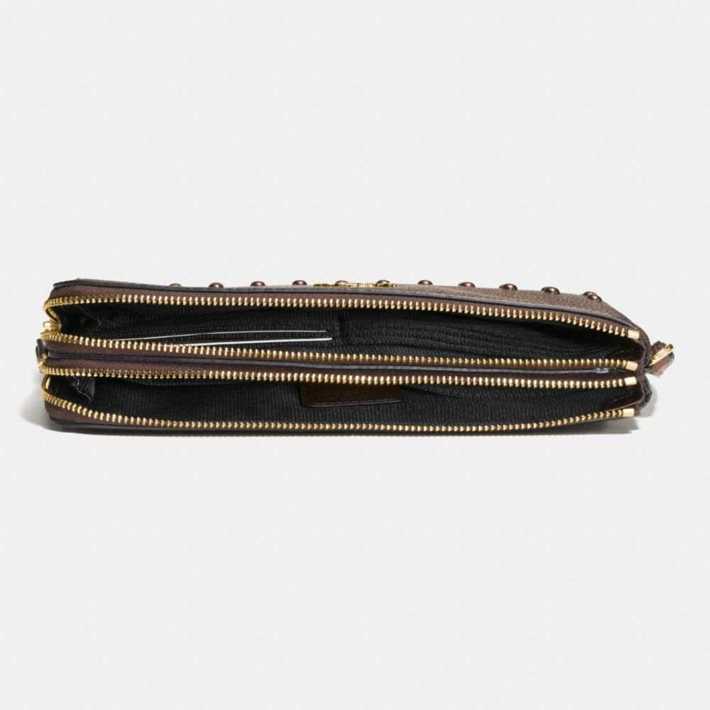 LACQUER RIVETS DOUBLE ZIP WALLET IN PEBBLE LEATHER - Alternate View
