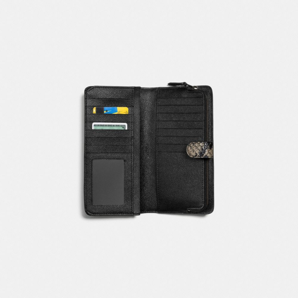 Skinny Wallet in Python Embossed Leather - Alternate View L1