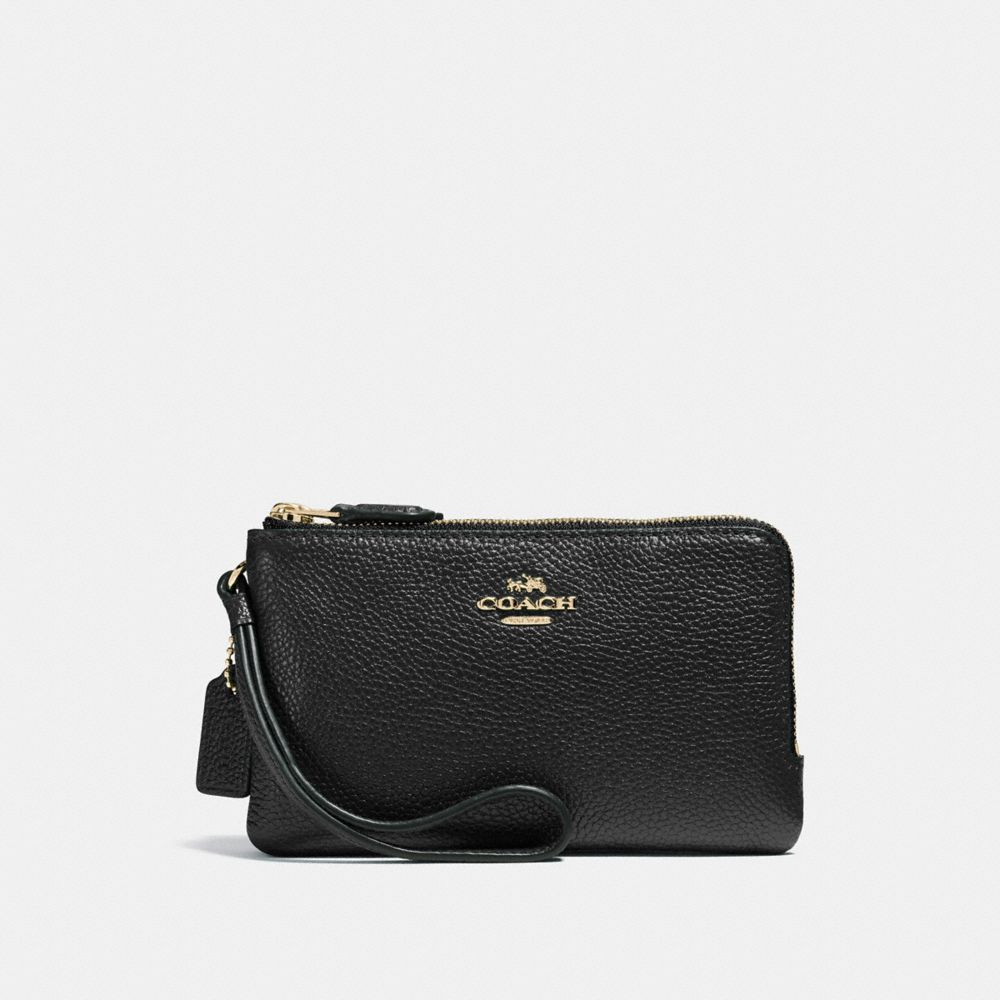 Coach Double Corner Zip Wristlet in Polished Pebble Leather