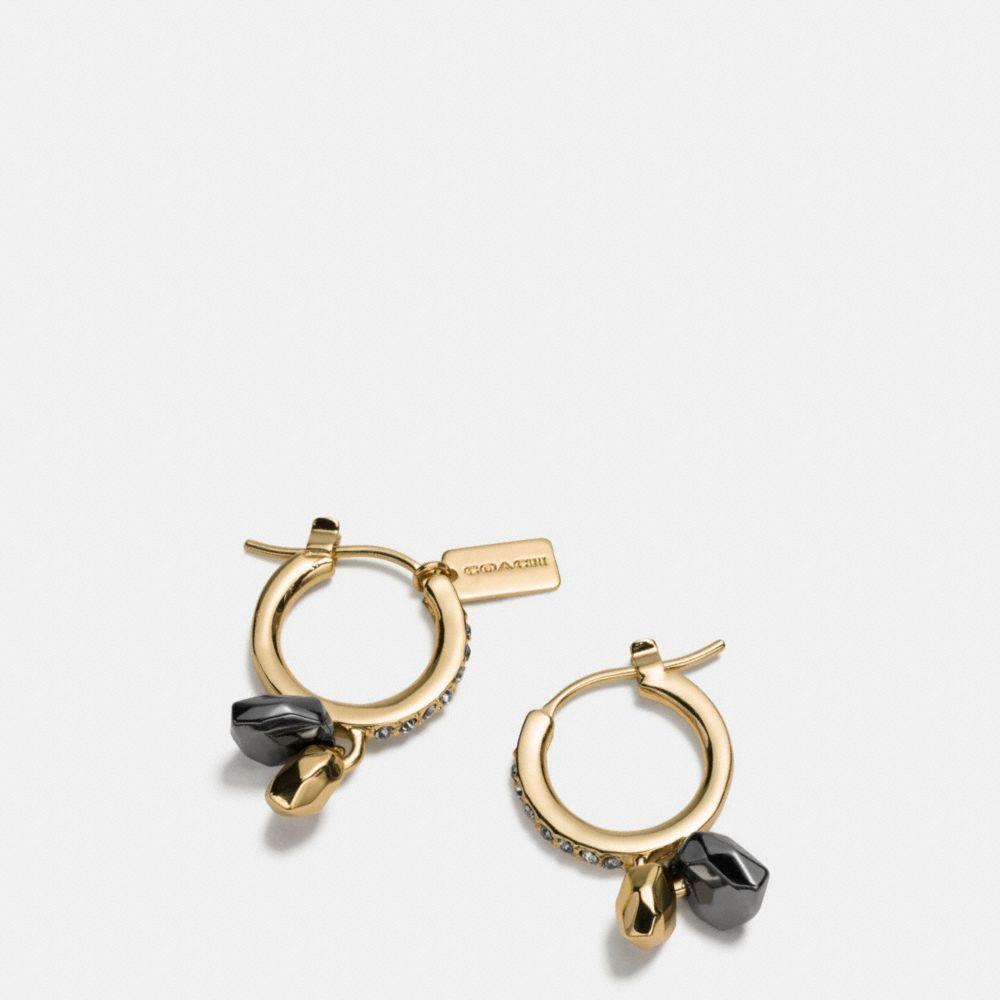 Faceted Heart Charm Huggie Earrings