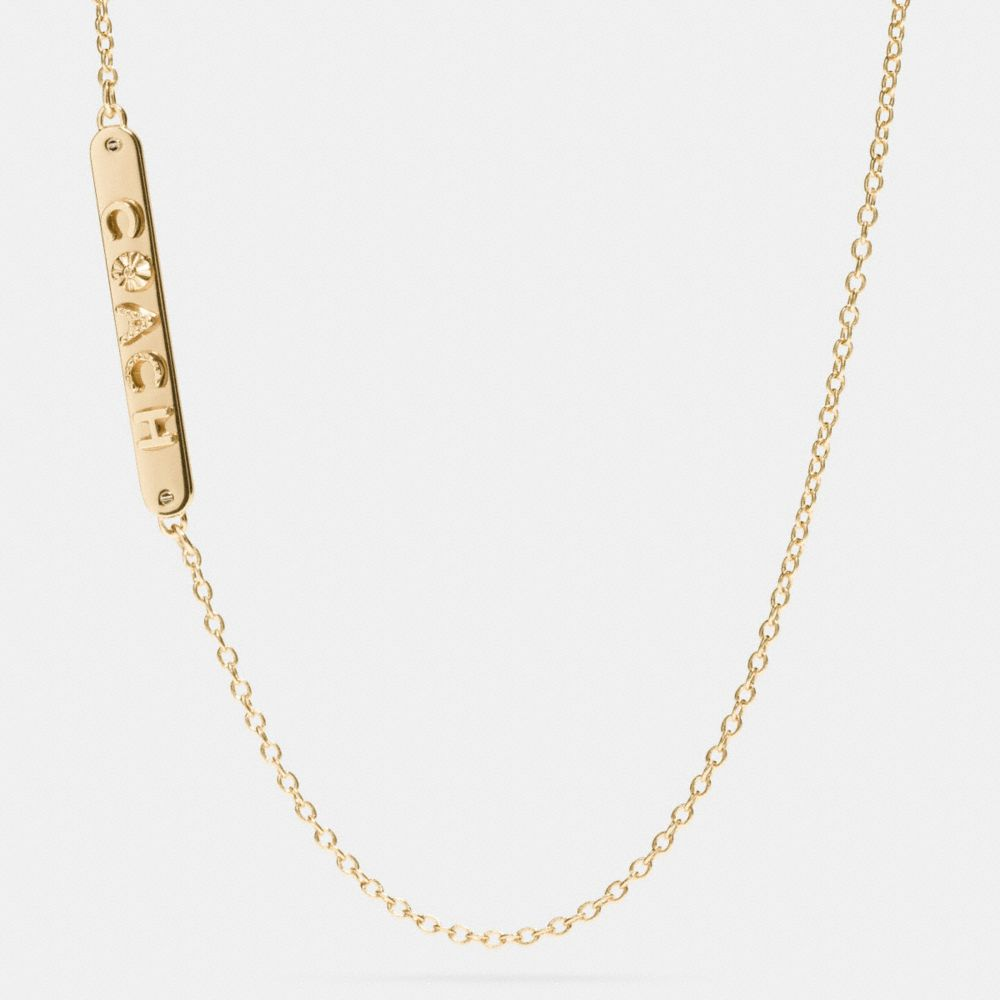 Long Coach Plaque Necklace