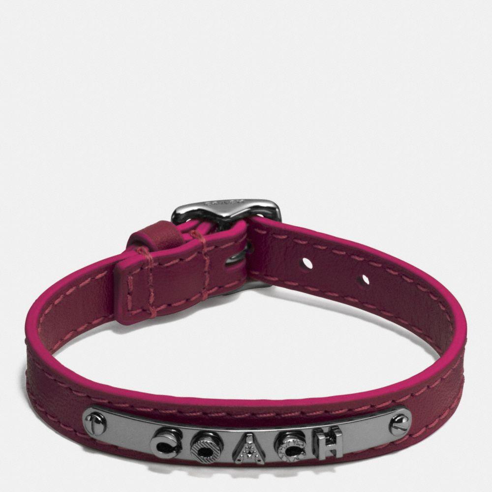 Leather Buckle Coach Plaque Bracelet