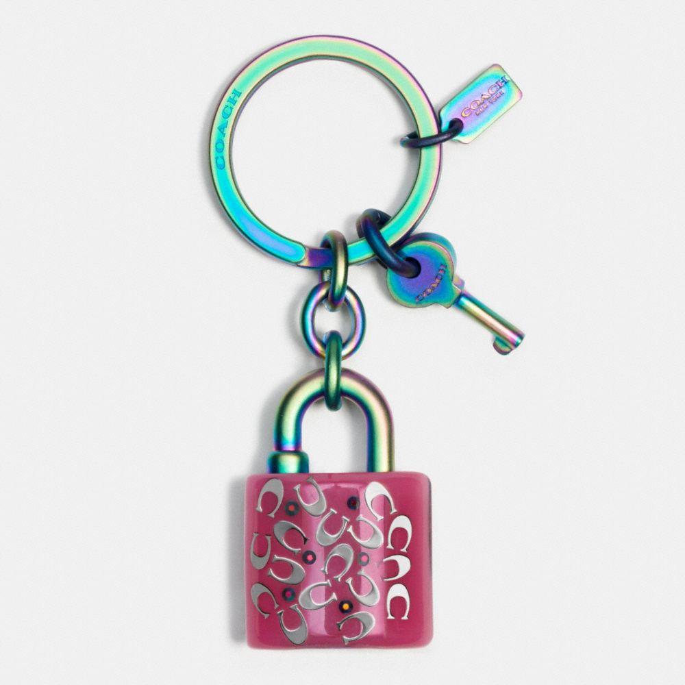 Anodized Lock and Key Key Ring