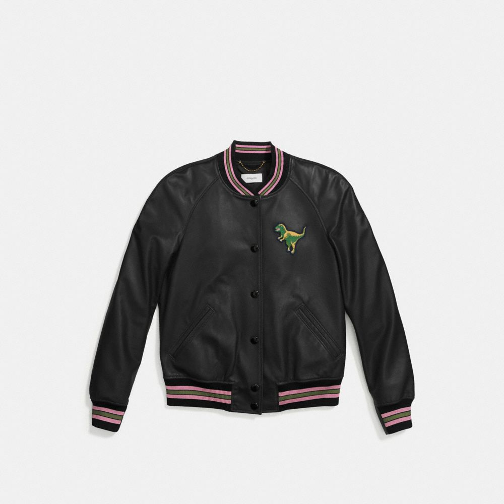 Coach Leather Rexy Varsity Jacket Alternate View 1