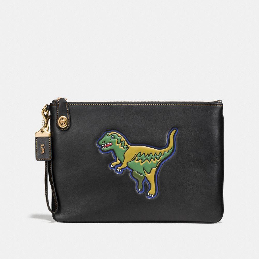 Dinosaur Turnlock Wristlet 30 in Glovetanned Leather