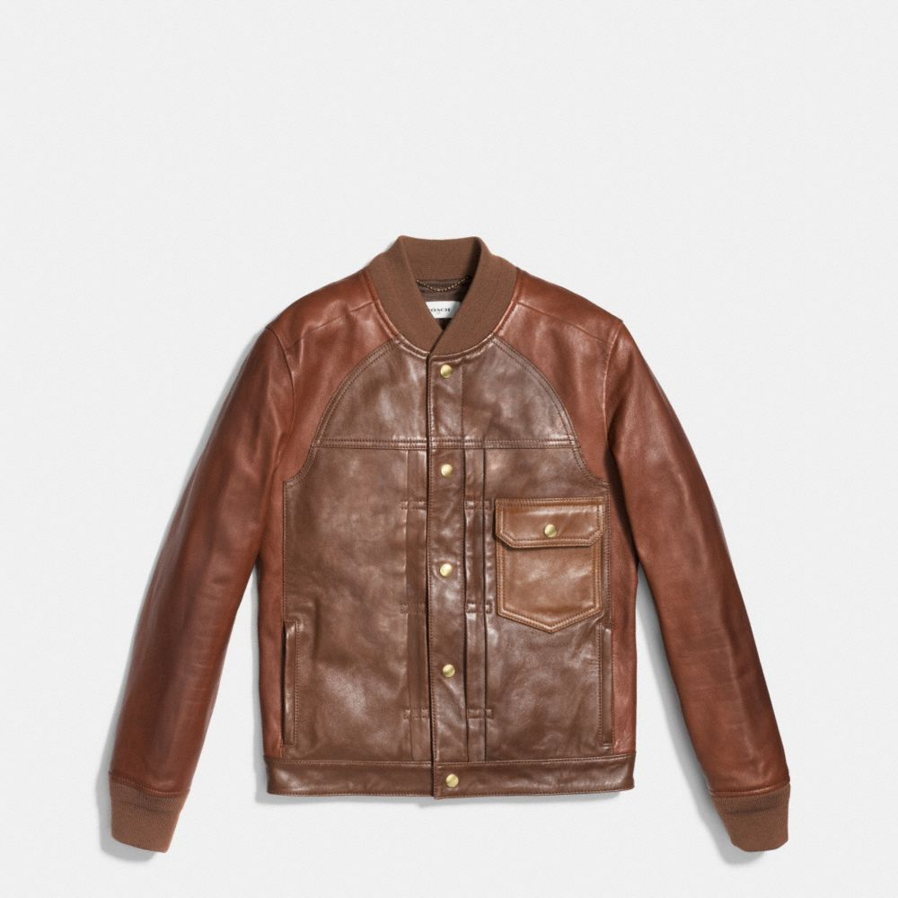 Patched Leather Varsity Jacket