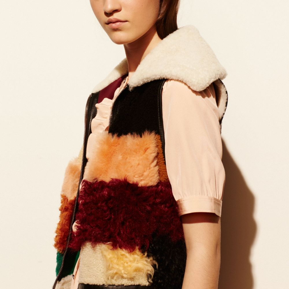 PATCHWORK SHEARLING VEST - Alternate View