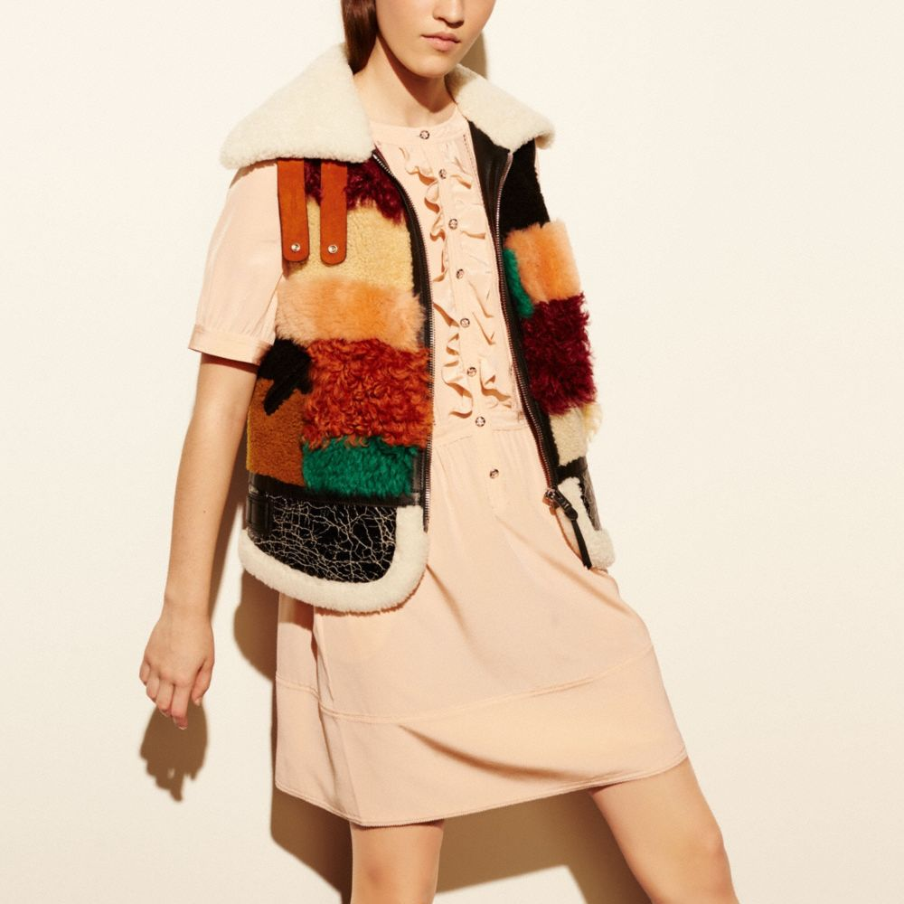 Patchwork Shearling Vest - Alternate View M