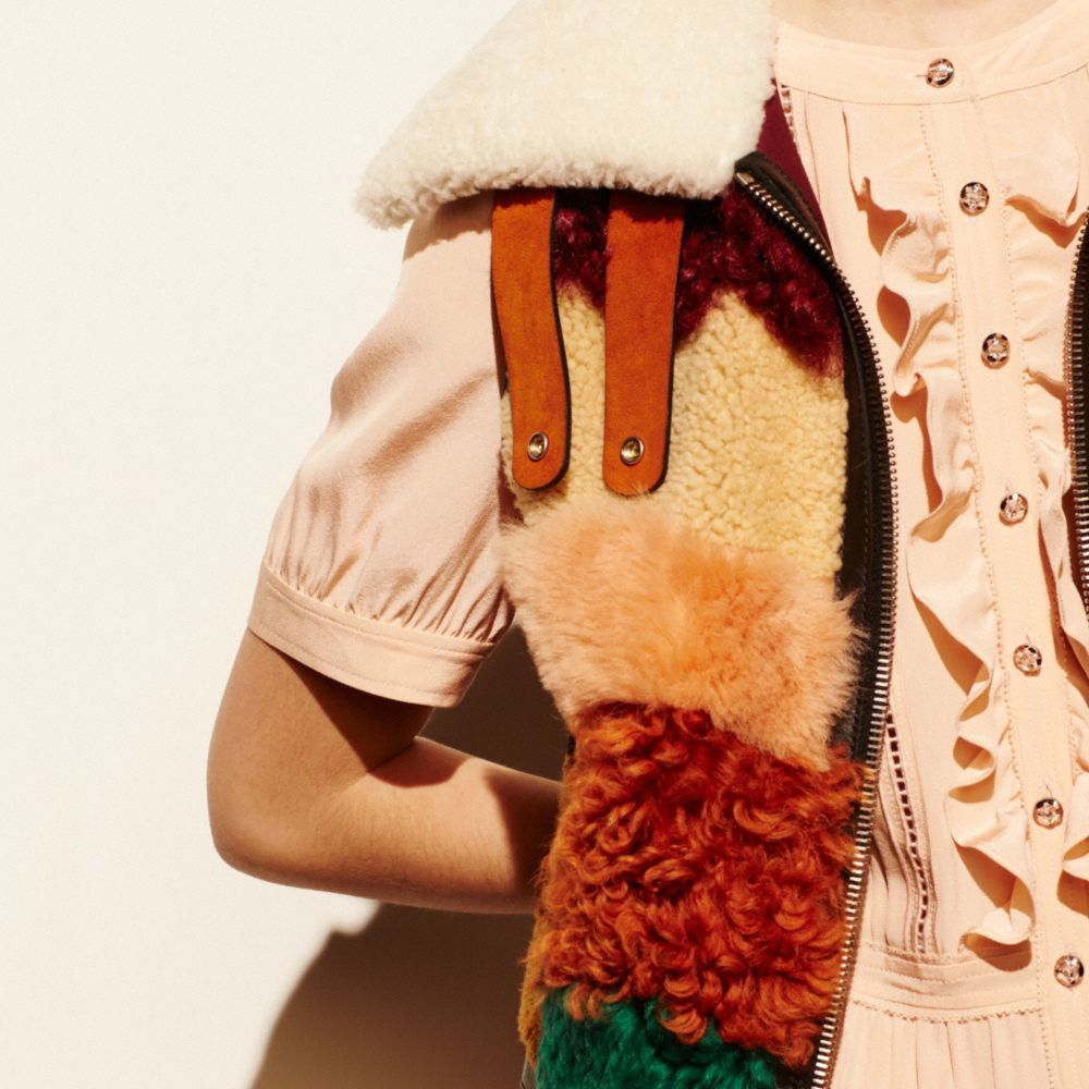 PATCHWORK SHEARLING VEST - Alternate View M2