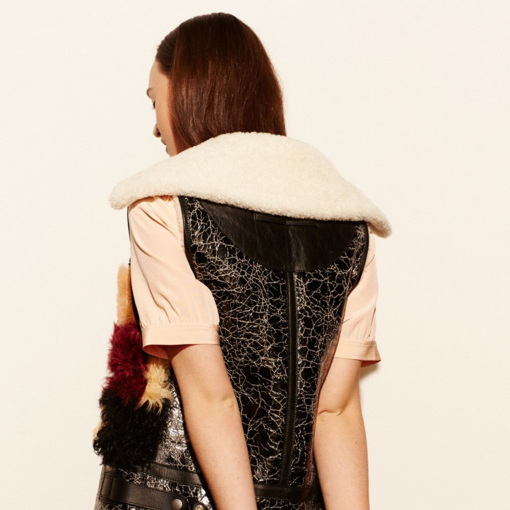 Coach Patchwork Shearling Vest Alternate View 4