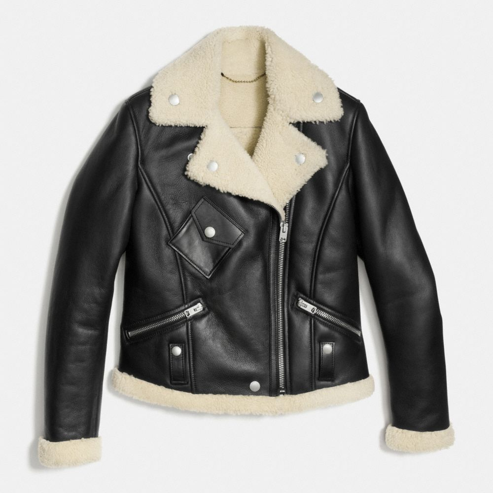 Shearling Moto Jacket - Alternate View A1