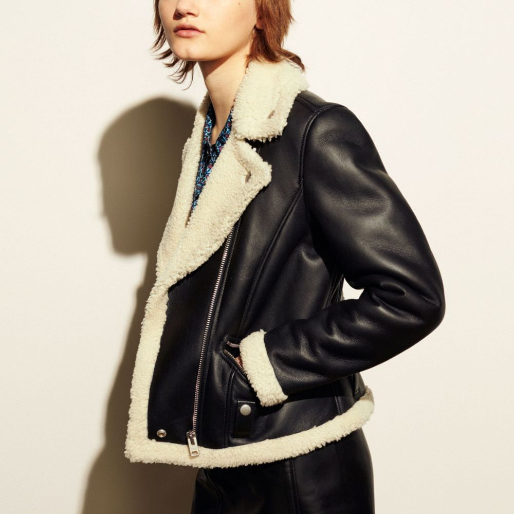 Shearling Moto Jacket - Alternate View M2