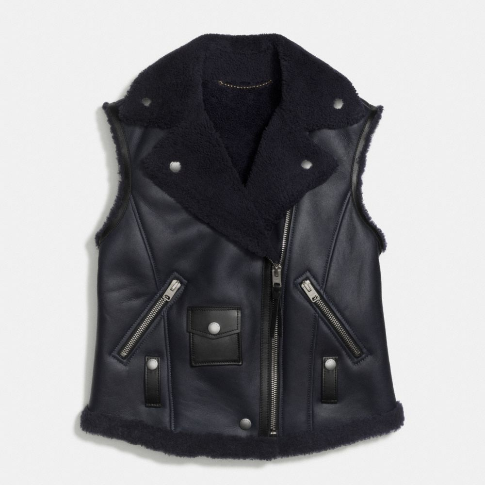 Shearling Moto Vest - Alternate View A1