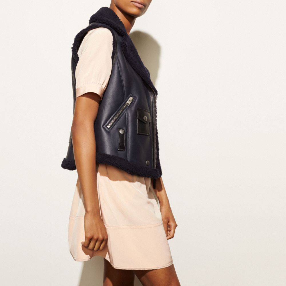 Shearling Moto Vest - Alternate View M1