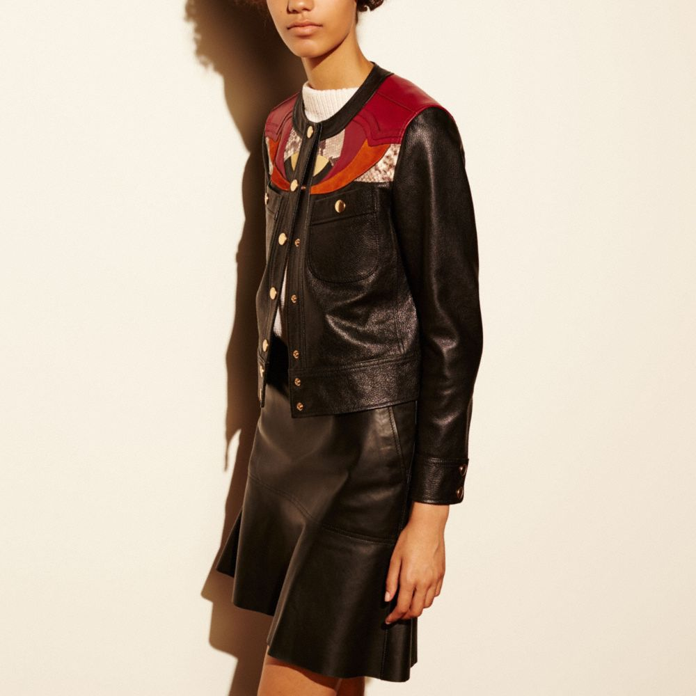 APPLIQUE YOKE COLLARLESS LEATHER JACKET