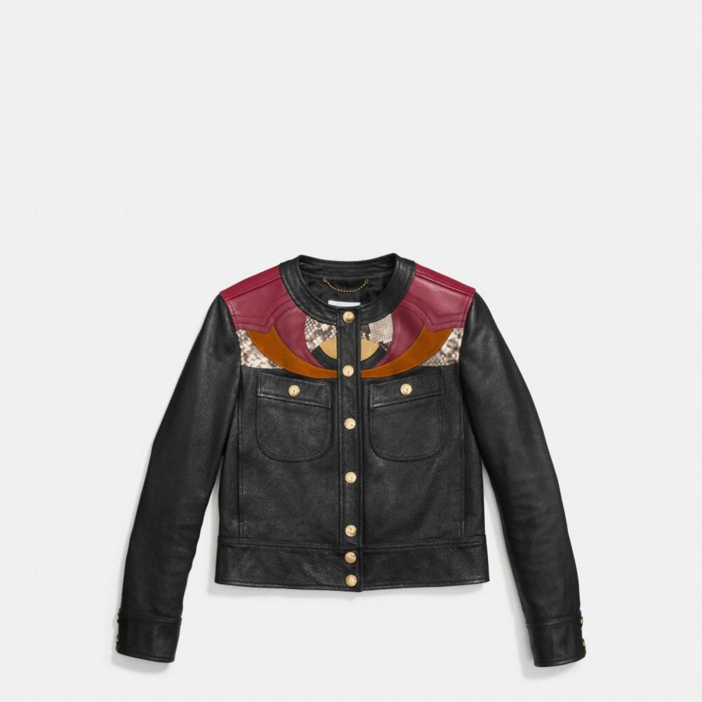 APPLIQUE YOKE COLLARLESS LEATHER JACKET - Alternate View