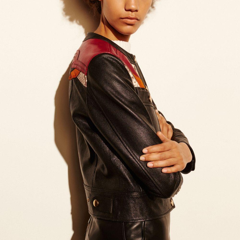 Applique Yoke Collarless Leather Jacket - Alternate View M