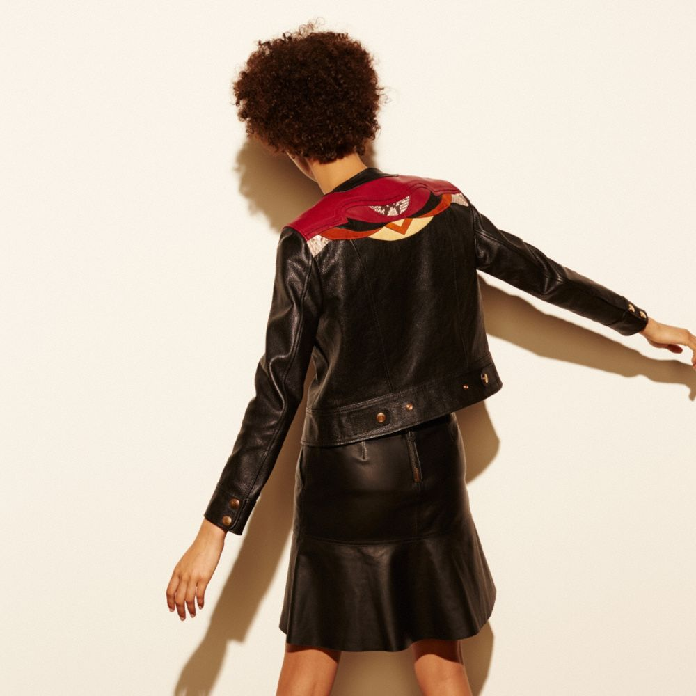 Applique Yoke Collarless Leather Jacket - Alternate View M2