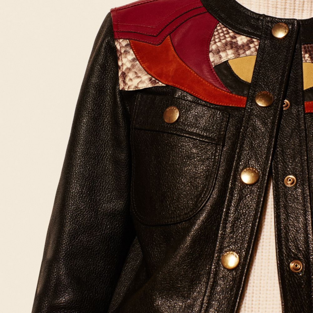 Applique Yoke Collarless Leather Jacket - Alternate View M3