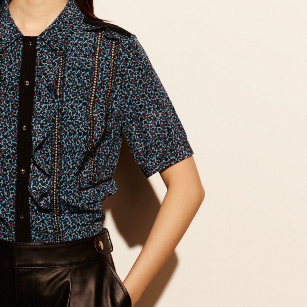 Floral Silk Ruffle Top - Alternate View M3