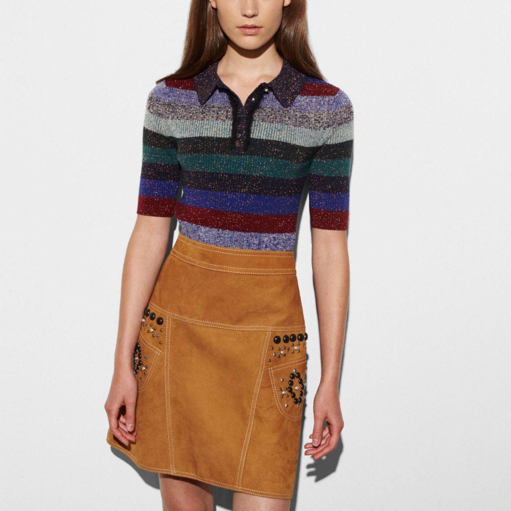Striped Rib Polo Sweater