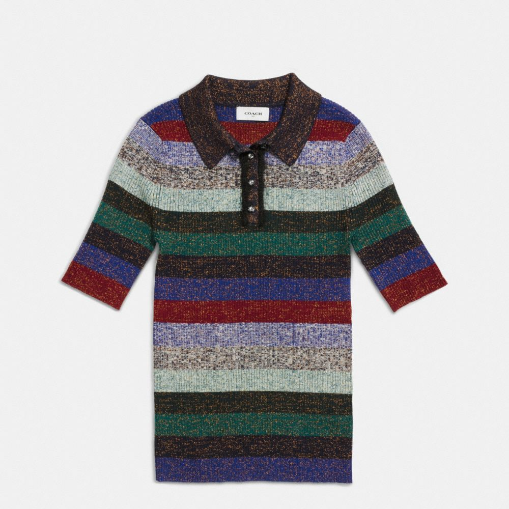 Striped Rib Polo Sweater - Alternate View A1
