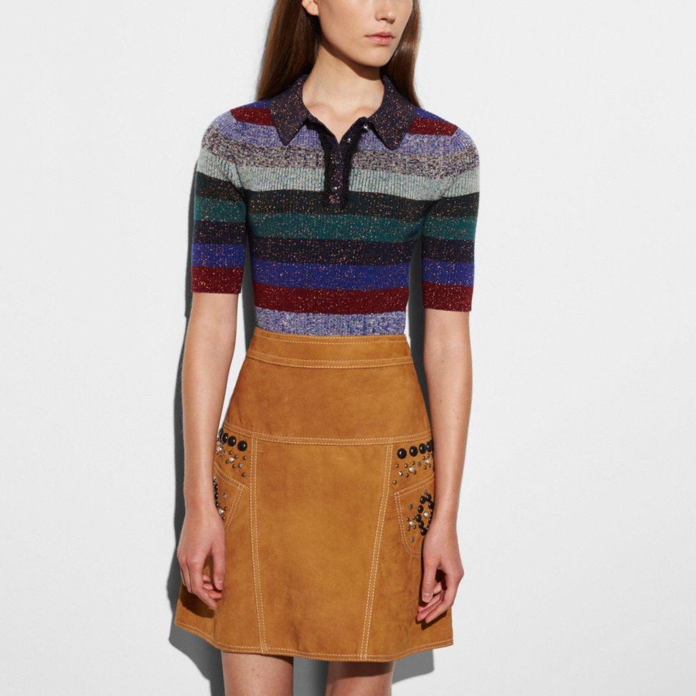 Striped Rib Polo Sweater - Alternate View M