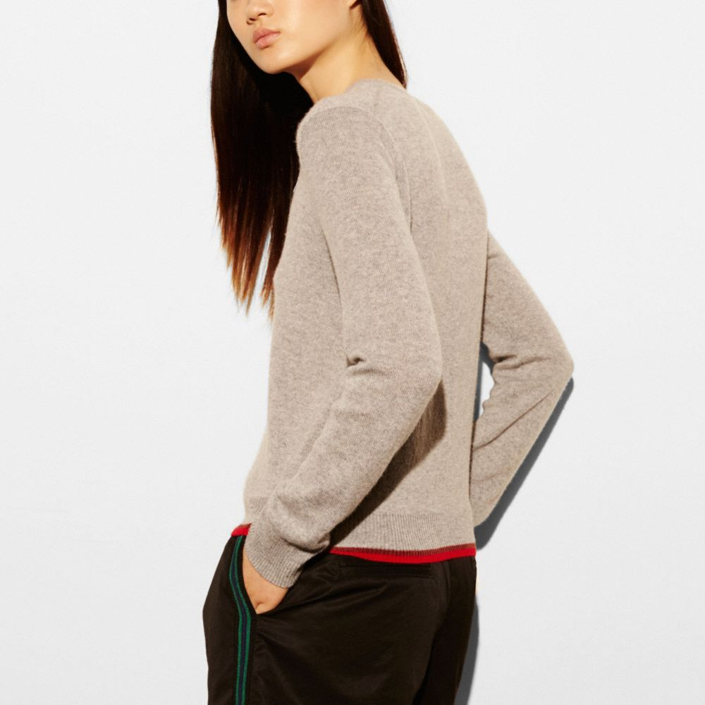 REXY PATCH LONG SLEEVE CREW SWEATER - Alternate View